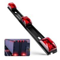 Nilight TL-11 1PC Red 9 LED ID Bar Marker Tail Black Stainless Steel Bracket for Truck Trailer Boat Identification Light, 2 Years Warranty