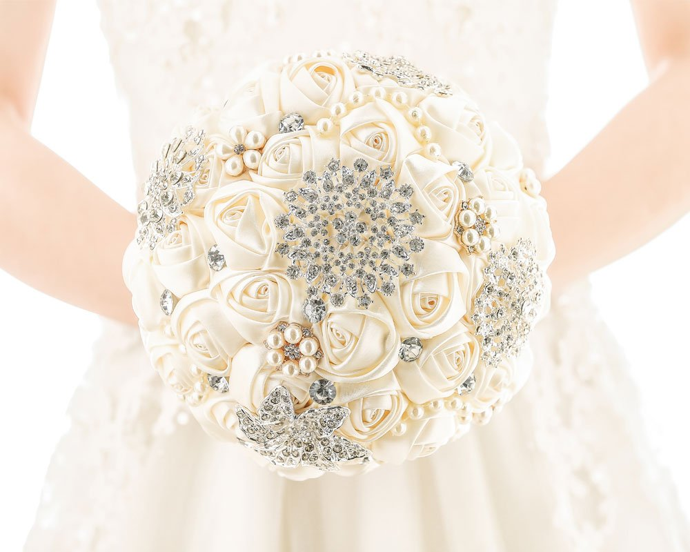 Pavian [My Darling] Advanced Customization Romantic Bride Wedding Holding Bouquet Roses Multi-Color Selection-Ivory