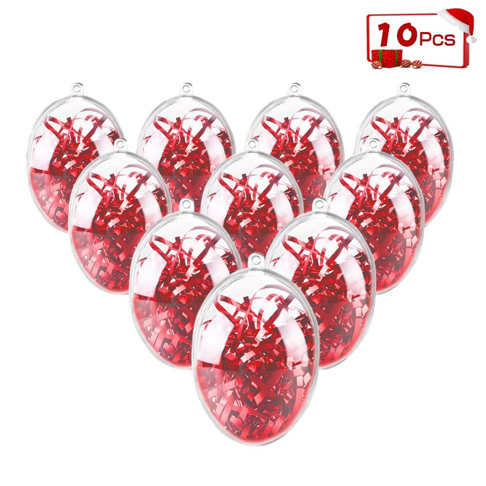 ShellKingdom Fillable Ornament Ball, Clear Transparent Ball & Plastic DIY Bauble Ball for Home/Wedding/Party/Tree/Craft/Christmas/Xmas Decoration/Soap Bath Bomb 10PCS(Egg)