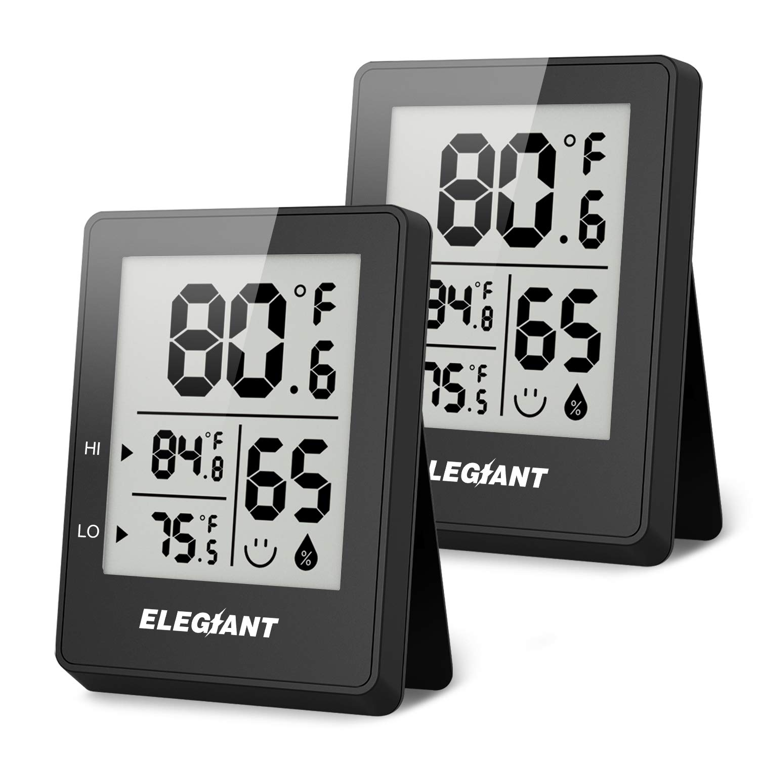 ELEGIANT Digital Hygrometer (2 Pack), Humidity Gauge Mini Indoor Thermometer Accurate Temperature and Humidity Monitor Baby Room Thermometer with Comfort Indicator for Home, Office, Greenhouse, Black