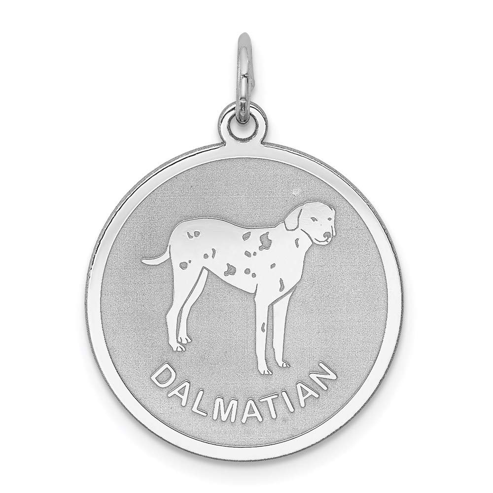 925 Sterling Silver Dalmatian Disc Pendant Charm Necklace Animal Dog Engravable Round Fine Mothers Day Jewelry For Women Gifts For Her