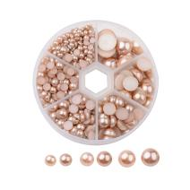 Pandahall 4-12mm Tan Acrylic Faux Pearl Half Round Cabochons About 690pcs Flat Round Dome Imitation Pearls for DIY Jewlery Scrapbooking Embellishments