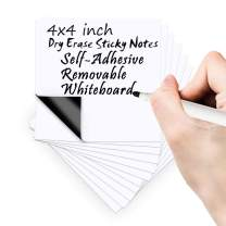 Dry Erase Sticky Notes 4X4 inch Reusable Self-Adhesive Removable Whiteboard Kitchen Refrigerator Whiteboard Note Pads by Bieco for Office, Classroom, Home(10pcs Whiteboard 4x4 inch)