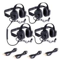 Rugged Radios H80-DOUBLE-TALK-X4 Linkable Intercom Headset Kit for 4 People - Great for NASCAR Races and in-Car Communications - Features 3.5mm Input Jack for Scanners/Music Players