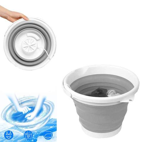 10L Folding Rotating Turbo Washing Machine Upgraded Portable Mini Laundry Tub,Personal Ultrasonic Rotating USB Powered Travel Washer,for Camping Business Trip Apartments Clothes (G)