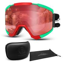 Extra Mile Ski Goggles, Multiple Reflection Spliced Lens Anti-Fog and UV400 Protection - Snowboard Snowmobile Goggles for Men, Women & Youth