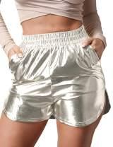 Women's Shiny Metallic Shorts Summer Yoga High Waist Hot Shorts
