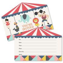 Big Dot of Happiness Carnival - Cirque du Soiree - Shaped Fill-in Invitations - Baby Shower or Birthday Party Invitation Cards with Envelopes - Set of 12