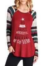 Sherosa Women's Christmas Printed Raglan Sleeve Tunic Tops Shirts