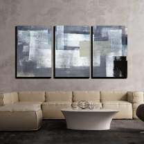 """wall26 - 3 Piece Canvas Wall Art - Grey and Green Abstract Art Painting - Modern Home Decor Stretched and Framed Ready to Hang - 16""""x24""""x3 Panels"""