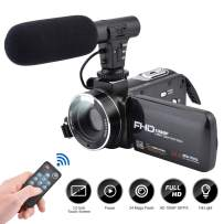 Video Camera Camcorder Digital Vlogging Camera 3.0 Inch LCD Touch Screen Recorder FHD 1080P 24MP Digital Camcorder with External Microphone and Remote Control 270 Degree Rotation