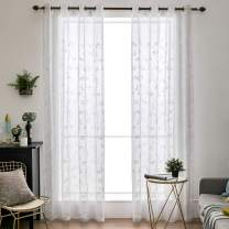 """MIULEE 2 Panels Floral Leaves Embroidery Sheer Curtains Grommet Window Curtain Semi Voile Drapes Panels for Living Room Bedroom 54"""" W x 63"""" L"""