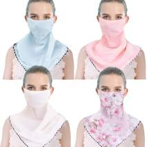 4 Pack Women Sun Mask Chiffon Neck Gaiter Sun-Proof Face Mask Colorful Face Cover Fishing UV Protection for Outdoors