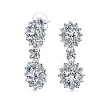 Crown Halo Oval Cubic Zirconia AAA CZ Fashion Statement Drop Earrings For Women For Prom Pageant Silver Plated Brass