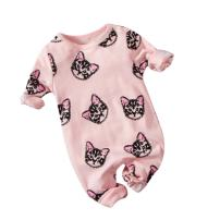 Weixinbuy Toddler Baby Cat Print Snap-Up Romper Long Sleeve Footie Clothes Pink
