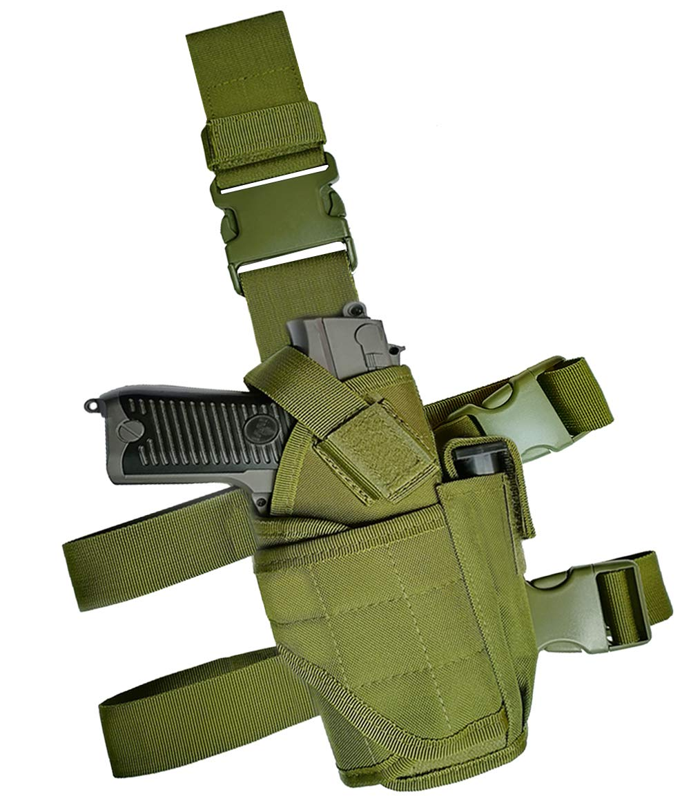 GHFY Molle Tactical Pistol Thigh Gun Holster, Drop Leg Holster, Right Hand Adjustable