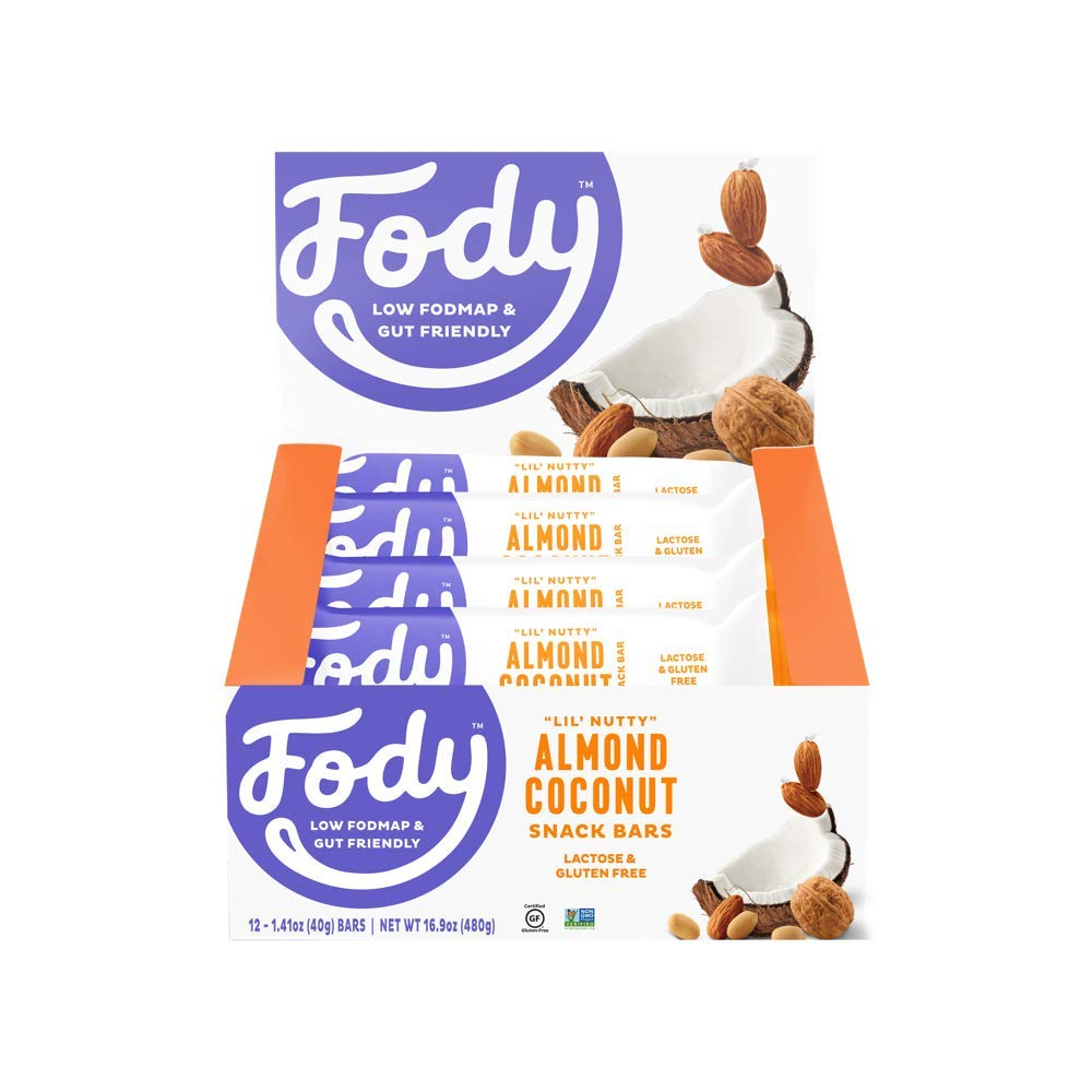 Fody Foods Vegan Protein Nut Bars, 8g Protein Snack Bar, Low FODMAP Certified, Gut Friendly IBS Friendly Snacks, Gluten Free Lactose Free Non GMO, Almond and Coconut Bars, 12 Count