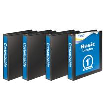 Mead 3 Ring Binder, Customizable, 1 Inch Round Ring, 4 Pack, Black (W463-14BPP)