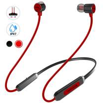 NANAMI Wireless Headphones, Bluetooth V5.0 IPX7 Waterproof 10 Hours Playtime Bluetooth Headphones, Noise Cancelling Headphones with Microphone - Magnetic HD Stereo Sports Earbuds for Running & Gym