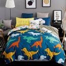 KFZ Jurassic World Dinosaurs Twin Bedding Set, 3 Piece Bed Sets with 1Duvet Cover, Flat Sheet, 1 Pillow Cases No Comforter [Softest Microfiber] for Kids Adults Teen Sheets Set