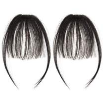 careonline 2PCS Clip in Bangs Real Human Hair Bangs Extensions Remy Hair Air Bangs with Temples Natural Black Bangs One Piece Clip in Fringe Hair Extensions for Women
