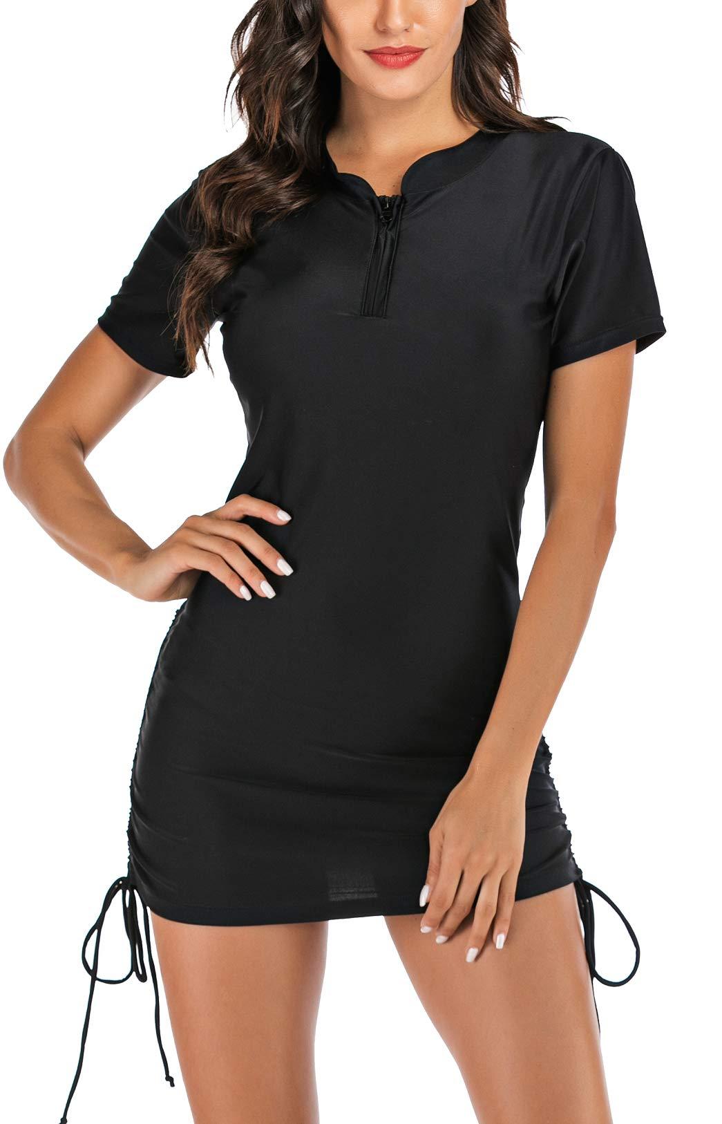 LafyKoly Women's Long Sleeve Rash Guard UV Protection Side Adjustable Swim Shirt Wetsuit Swimsuit Top