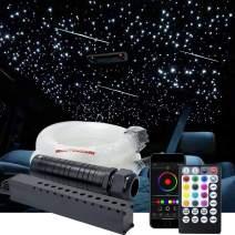 AZIMOM Car Use Bluetooth Upgraded 6W RGB Meteor LED Fiber Optic Shooting Star Ceiling Light Kits 450pcs0.03in9.8ft Fiber Strands APP Remote Control Music Mode Sensory Lighting Interior Decoration