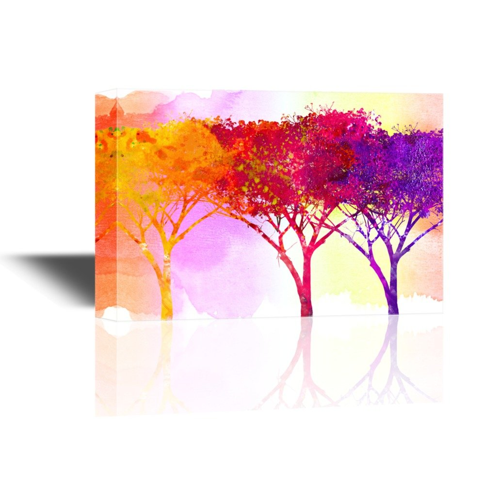 wall26 - Canvas Wall Art - Abstract Golden Red and Yellow Trees on Watercolor Style Background - Gallery Wrap Modern Home Decor   Ready to Hang - 32x48 inches