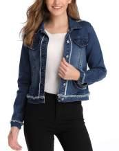 Anienaya Women's Denim Jacket Washed Basic Button Down Cropped Jean Jacket w 2 Chest Pockets