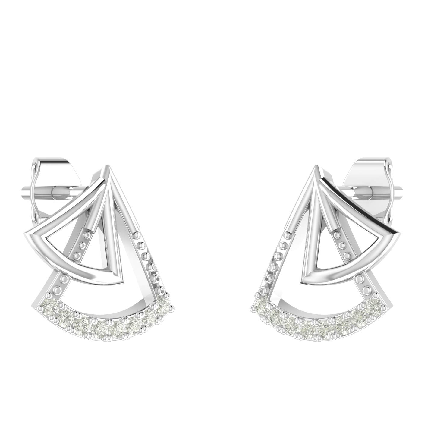 Amayra 0.04 CTW Diamond Stud Earring- 16 Natural Stones with Butterfly Pushbacks– Prong Setting in 925 Sterling Silver- (Color-GH Clarity-VS-SI) Unique Elegant Design Perfect Gift for All Occasions.