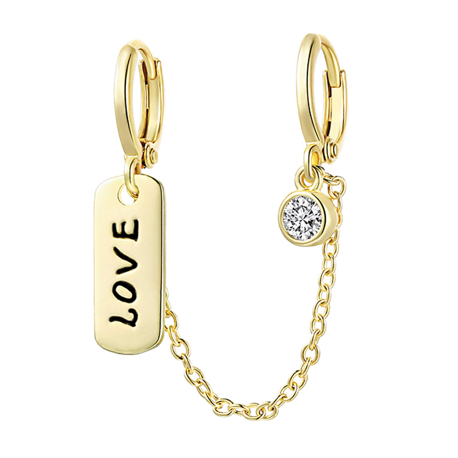 LAZLUVU 1pcs Double Hoop Earrings for Women Girls LOVE Pendant 18K Gold/White Gold Plated Dainty Chained Huggies Fashion Double Piercing Earrings Jewelry Gift