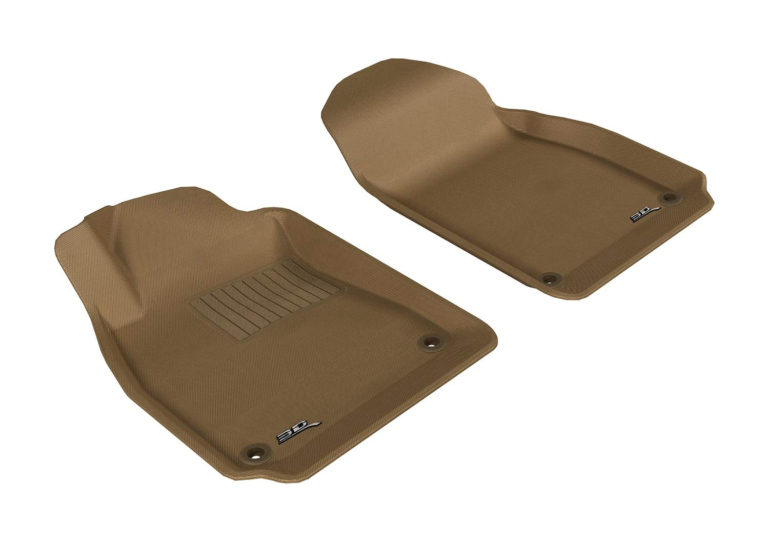 3D MAXpider Front Row Custom Fit All-Weather Floor Mat for Select Saab 9-3 Models - Kagu Rubber (Tan)