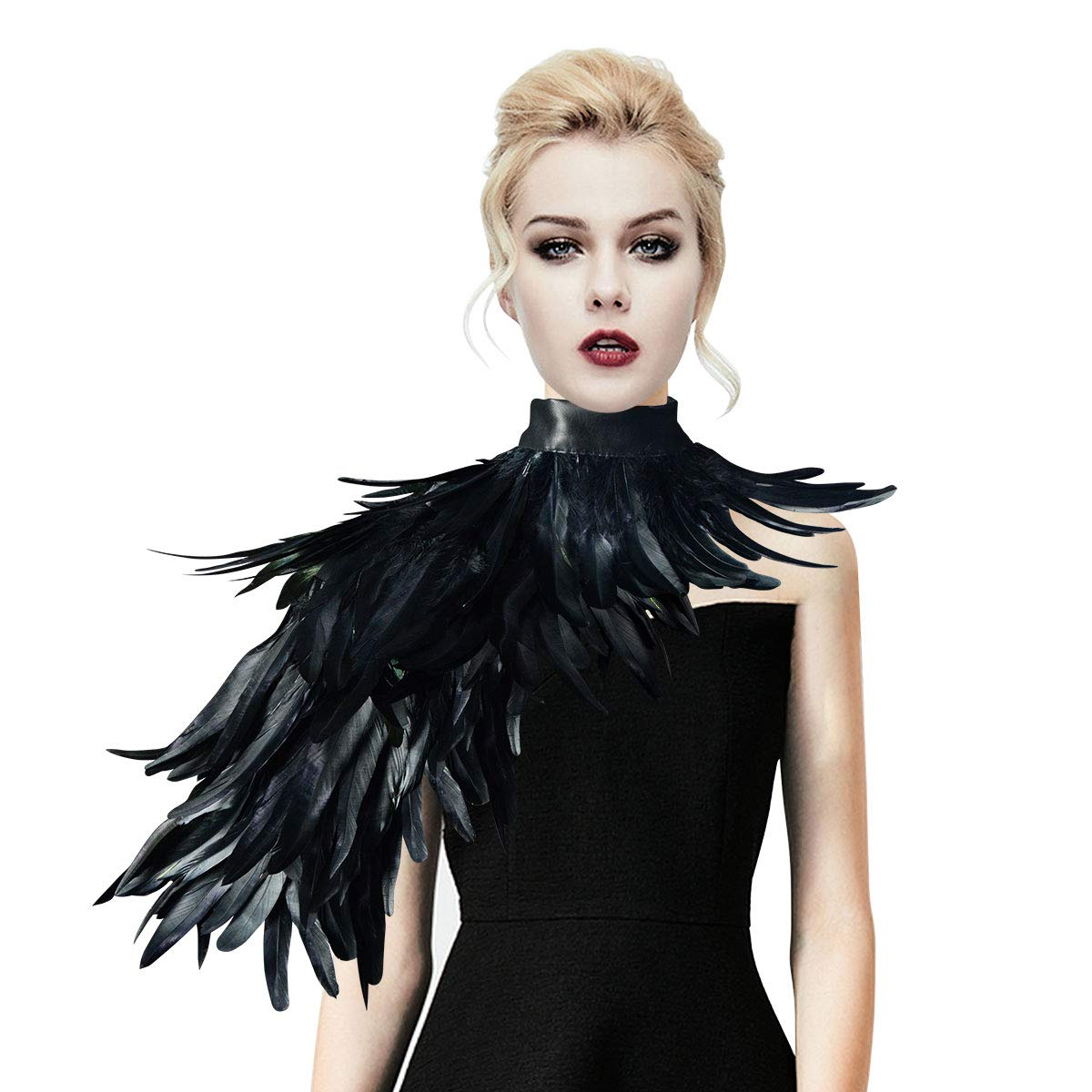 HOMELEX Gothic Real Black Feather Cape Shawl Shoulder Wings Choker Collar
