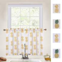 CAROMIO Cafe Curtains 30 Inches Length, Pineapple Print Linen Blend Tier Curtains for Kitchen Bathroom Small Half Window Curtains, Yellow, 27Wx30L Each (Set of 2)