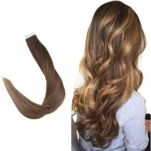 """Easyouth 20"""" Balayage Tape In Hair Extensions Ombre Color #4 Fading to #27 Honey Blonde Highlighted With #4 Seamless Tape Hair 50 Gram Per Pack Invisible Glue In Hair Extensions Skin Weft Hair"""