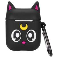 Logee Black Sailor Moon Case for Airpods 1&2,Cute Character Silicone 3D Funny Cartoon Airpod Cover,Soft Kawaii Fun Cool Animal Skin Kits with Carabiner,Unique Cases for Girls Kids Women Air pods