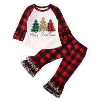 Christmas Outfits for Baby Girls Tutu Dress Tshirt with Striped/Red Plaid Pant Clothing Set