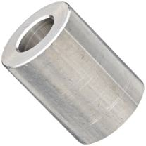 """Round Spacer, Aluminum, Plain Finish, #6 Screw Size, 1/2"""" OD, 0.14"""" ID, 7/16"""" Length, Made in US (Pack of 5)"""