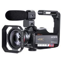 4K Video Camera Camcorder ORDRO HDR-AC5 Vlog Camera 12X Optical Lens 3.1'' IPS Ultra HD 1080P 60FPS Digital Camera Recorder WiFi Camcorders with Microphone Wide Angle Lens and Handheld Stabilizer