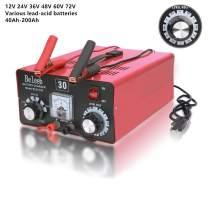 Battery Charger 48V 12V 24V 36V 60V 72V Automatic Maintain 40-200Ah 16Amp(max) Volt-Current Manually Adjusted with Clips Ammeter Suitable for Golf Cart Car Truck RV Marine Yacht Mower AGM SLA ATV C30