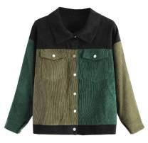 SCOFEEL Women's Patchwork Corduroy Jacket Button Down Shirt Blouse Coat