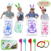 Twister.CK Easter Outdoor Games Potato Sack Race Bags,Bunny Ears Headbands, Egg and Spoon Race Games,Legged Relay Race Bands,Easter Eggs Hunt Game,Party Favor Supplies for All Ages Kids and Family (14 Pack 4 Games)