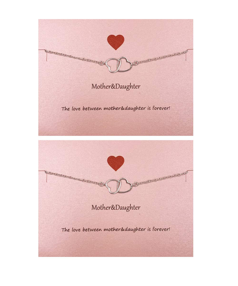 Your Always Charm Mother Daughter Bracelet Set for 2,Interlocking Heart Mother's Day Jewelry Gifts from Daughter
