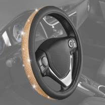 BDK Bling Bling Diamond Leather Steering Wheel Cover with 9 Rows Crystal Rhinestones, Universal Fit 14.5-15.5 Inch for Women/Girls (Gold) (SW-2611-GD)