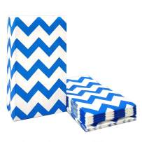 50 CT Chevron Paper Bags Blue Goodie Bags Treat for Party Supplies by ADIDO EVA (5.1 x 3.1 x 9.4 in)