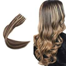 """Easyouth 20"""" Seamless Skin Weft Tape in Hair Extensions Highlights Color #27 Honey Blonde and Brown Pu Tape On Hair 100% Remy Human Hair Extensions 40 Pcs 100g Per Pack"""
