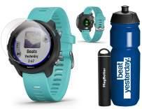 Garmin Forerunner 245 Music (Aqua) Runner's Bundle   +Garmin Water Bottle, HD Screen Protectors & PlayBetter Portable Charger   Music & Spotify, PulseOx   Running GPS Watch   010-02120-22