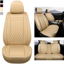 GIANT PANDA Car Seat Covers Cushion Full Set for 5-Seater Vehicle Models Universal Fit Most Car SUV Pick-up Truck (Beige)