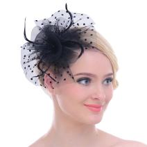 Fascinators Sinamay Hats for Women for Tea Party Kentucky Derby Wedding Cocktail Mesh Feathers Hair Clip