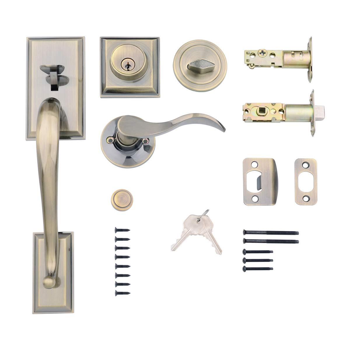 AmazonBasics Modern Exterior Door Handle with Left-Hand Wave Door Lever and Deadbolt Lock Set, Antique Brass